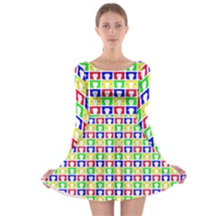 Colorful Curtains Seamless Pattern Long Sleeve Skater Dress