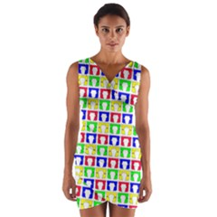 Colorful Curtains Seamless Pattern Wrap Front Bodycon Dress