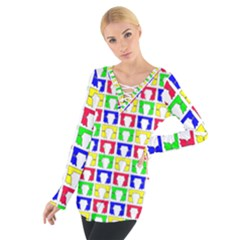 Colorful Curtains Seamless Pattern Women s Tie Up Tee
