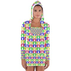 Colorful Curtains Seamless Pattern Women s Long Sleeve Hooded T Shirt