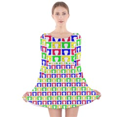 Colorful Curtains Seamless Pattern Long Sleeve Velvet Skater Dress