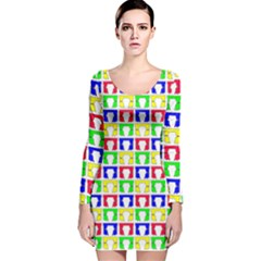 Colorful Curtains Seamless Pattern Long Sleeve Velvet Bodycon Dress