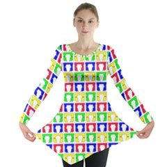 Colorful Curtains Seamless Pattern Long Sleeve Tunic