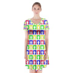 Colorful Curtains Seamless Pattern Short Sleeve V Neck Flare Dress