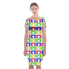 Colorful Curtains Seamless Pattern Classic Short Sleeve Midi Dress