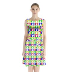 Colorful Curtains Seamless Pattern Sleeveless Chiffon Waist Tie Dress