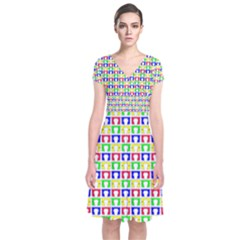 Colorful Curtains Seamless Pattern Short Sleeve Front Wrap Dress