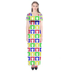 Colorful Curtains Seamless Pattern Short Sleeve Maxi Dress