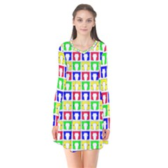 Colorful Curtains Seamless Pattern Flare Dress