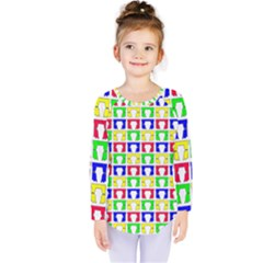 Colorful Curtains Seamless Pattern Kids  Long Sleeve Tee