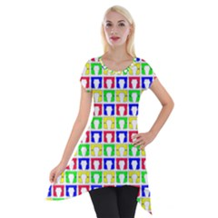 Colorful Curtains Seamless Pattern Short Sleeve Side Drop Tunic