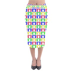 Colorful Curtains Seamless Pattern Velvet Midi Pencil Skirt