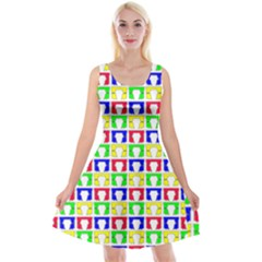 Colorful Curtains Seamless Pattern Reversible Velvet Sleeveless Dress