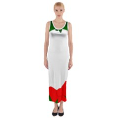 Holiday Wreath Fitted Maxi Dress
