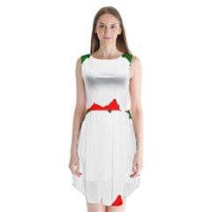 Holiday Wreath Sleeveless Chiffon Dress