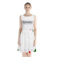 Holiday Wreath Sleeveless Chiffon Waist Tie Dress
