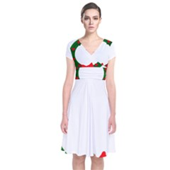 Holiday Wreath Short Sleeve Front Wrap Dress