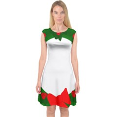 Holiday Wreath Capsleeve Midi Dress