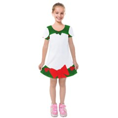 Holiday Wreath Kids  Short Sleeve Velvet Dress
