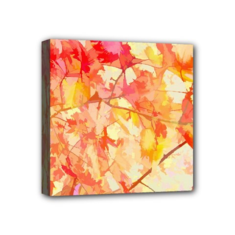 Monotype Art Pattern Leaves Colored Autumn Mini Canvas 4  X 4