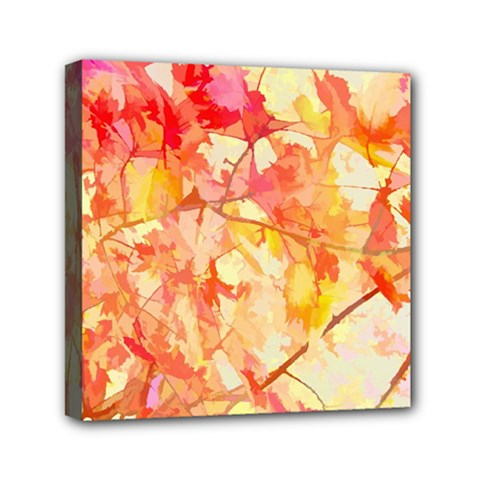 Monotype Art Pattern Leaves Colored Autumn Mini Canvas 6  X 6