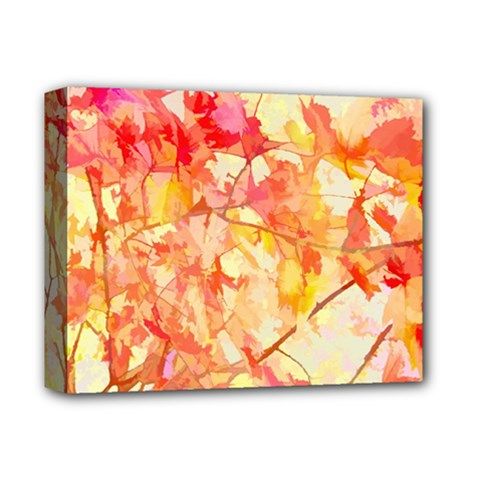 Monotype Art Pattern Leaves Colored Autumn Deluxe Canvas 14  X 11