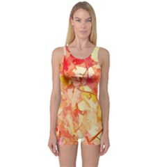 Monotype Art Pattern Leaves Colored Autumn One Piece Boyleg Swimsuit