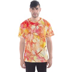 Monotype Art Pattern Leaves Colored Autumn Men s Sport Mesh Tee