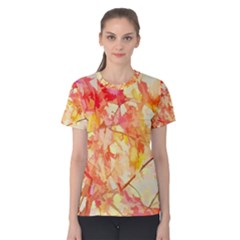 Monotype Art Pattern Leaves Colored Autumn Women s Cotton Tee
