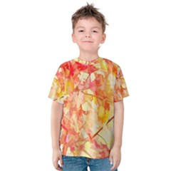 Monotype Art Pattern Leaves Colored Autumn Kids  Cotton Tee