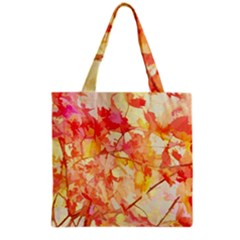 Monotype Art Pattern Leaves Colored Autumn Grocery Tote Bag