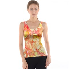 Monotype Art Pattern Leaves Colored Autumn Tank Top