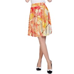 Monotype Art Pattern Leaves Colored Autumn A Line Skirt