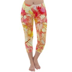 Monotype Art Pattern Leaves Colored Autumn Capri Winter Leggings