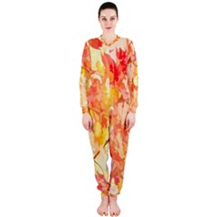 Monotype Art Pattern Leaves Colored Autumn Onepiece Jumpsuit (ladies)