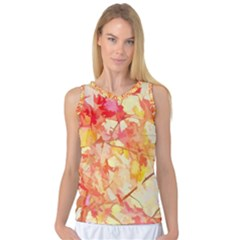 Monotype Art Pattern Leaves Colored Autumn Women s Basketball Tank Top