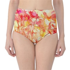 Monotype Art Pattern Leaves Colored Autumn High Waist Bikini Bottoms