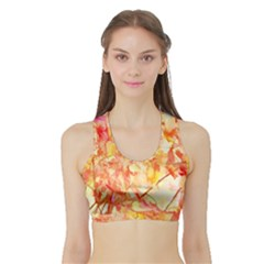 Monotype Art Pattern Leaves Colored Autumn Sports Bra With Border