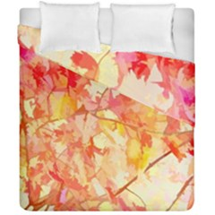 Monotype Art Pattern Leaves Colored Autumn Duvet Cover Double Side (california King Size)