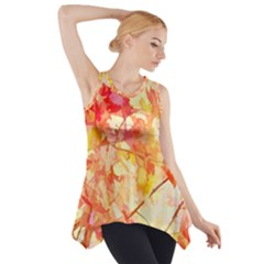Monotype Art Pattern Leaves Colored Autumn Side Drop Tank Tunic
