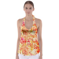 Monotype Art Pattern Leaves Colored Autumn Babydoll Tankini Top