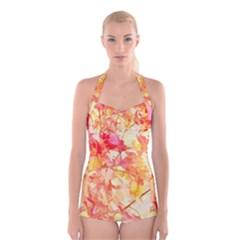Monotype Art Pattern Leaves Colored Autumn Boyleg Halter Swimsuit