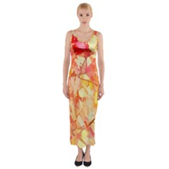 Monotype Art Pattern Leaves Colored Autumn Fitted Maxi Dress