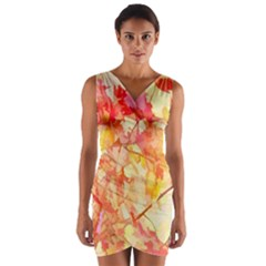 Monotype Art Pattern Leaves Colored Autumn Wrap Front Bodycon Dress