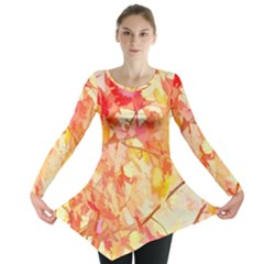 Monotype Art Pattern Leaves Colored Autumn Long Sleeve Tunic