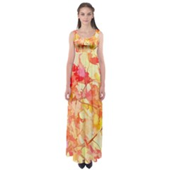 Monotype Art Pattern Leaves Colored Autumn Empire Waist Maxi Dress
