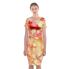 Monotype Art Pattern Leaves Colored Autumn Classic Short Sleeve Midi Dress