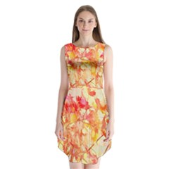 Monotype Art Pattern Leaves Colored Autumn Sleeveless Chiffon Dress