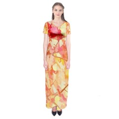 Monotype Art Pattern Leaves Colored Autumn Short Sleeve Maxi Dress