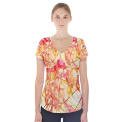 Monotype Art Pattern Leaves Colored Autumn Short Sleeve Front Detail Top
